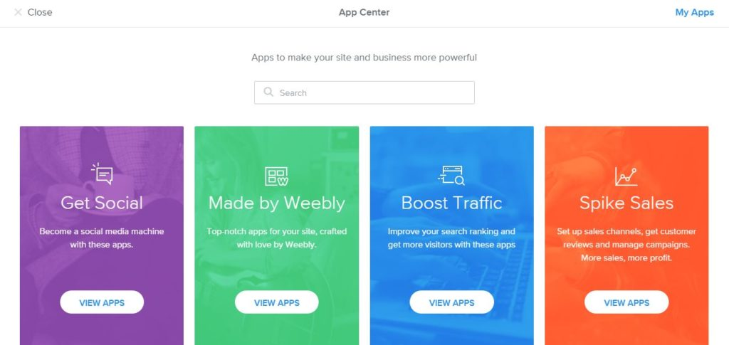 Website builder features Weebly
