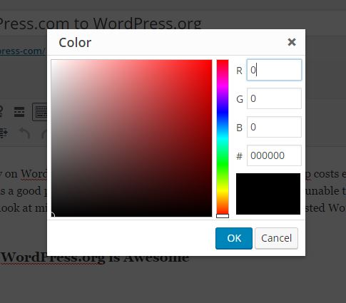 custom color chart wordpress