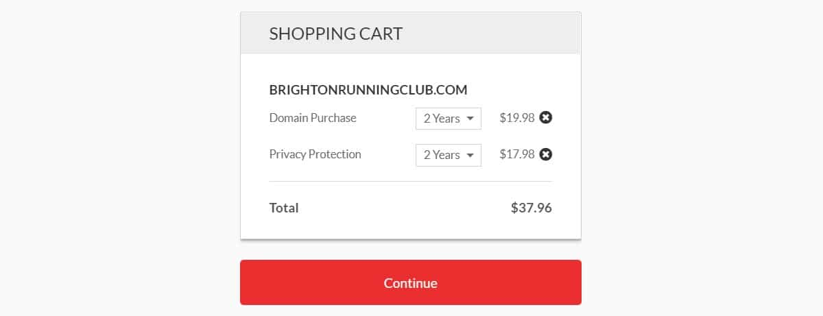 Domain.com Shopping cart